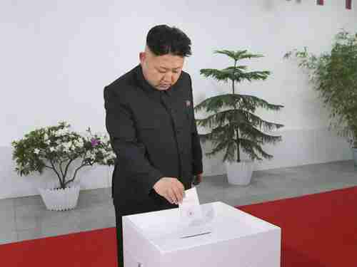 Kim Jong-un voting for himself on Sunday