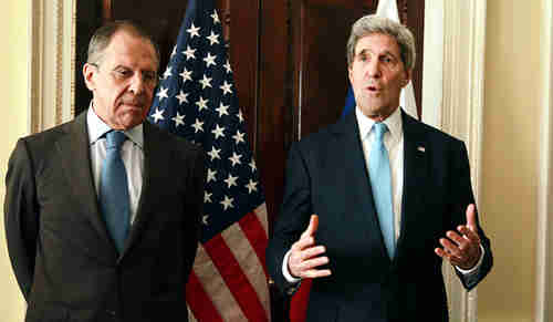 Lavrov and Kerry on Friday (EPA)