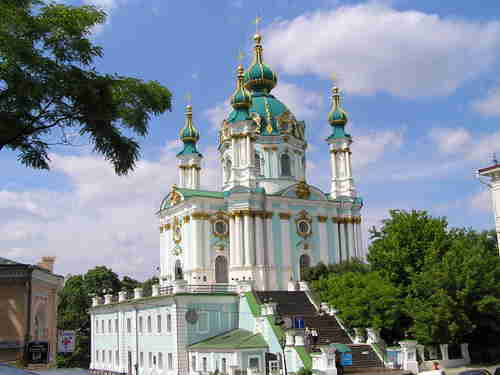 Saint Andrew's Ukrainian Orthodox Church in Kiev, constructed in 1747-54, to a design by the Italian architect Bartolomeo Rastrelli.