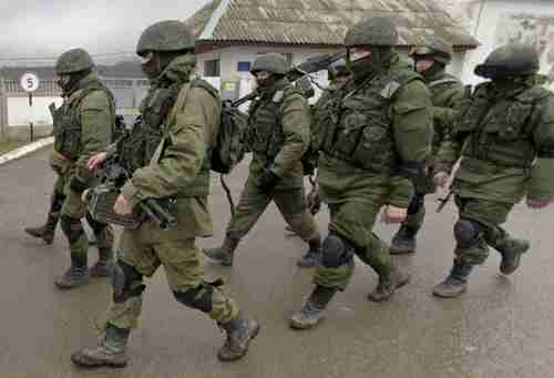 Pro-Russian troops in Crimea on Thursday (AP)