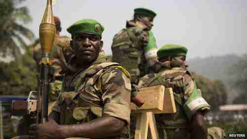 Soldiers from Misca, the African Union peacekeeping mission