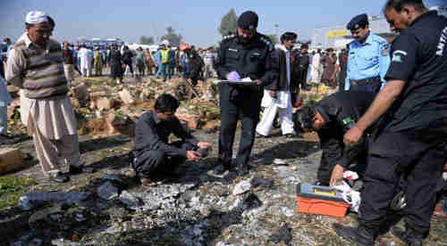 Bombed marketplace in Islamabad, Pakistan, on Wednesday (The News)