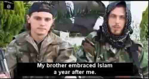 Screen grab from a jihadist recruiting video made last year by Toulouse Muslim converts Jean Daniel, 22, and half-brother Nicolas Bons, 30, after arriving in Syria in March.  Jean-Daniel was killed in fighting in Syria on August 11, and Nicolas was killed by a truck bomb on December 22.