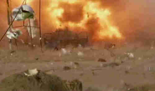 Image grab from video showing one of Friday's three car bombs at moment of explosion (AP)