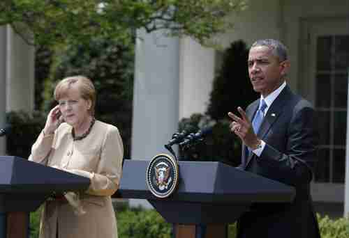 Angela Merkel and Barack Obama in Washington on Friday
