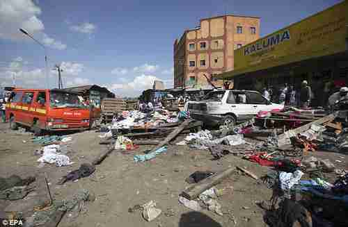 Aftermath of twin bombings in Nairobi on Friday (EPA)