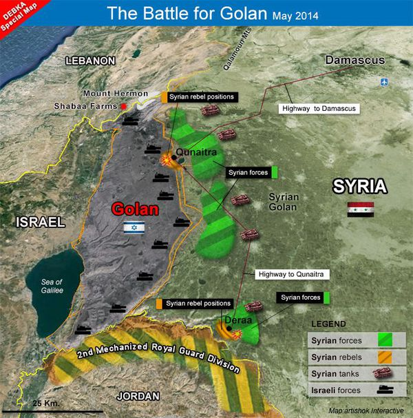 Map of the Battle for Golan - May 2014 (Debka)