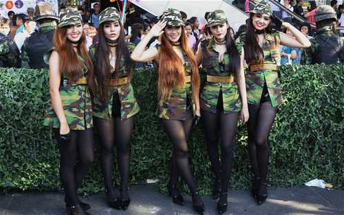 Thailand junta's 'army girls' pose for a photo