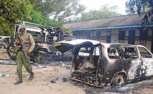 Burnt out cars after orgy of violence in Mpeketoni Kenya