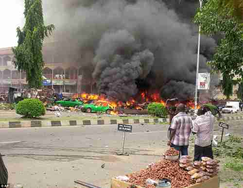 Aftermath of suicide car bomb in Abuja on Wednesday