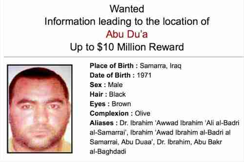 Wanted poster for ISIS leader Abu Bakr al-Baghdadi