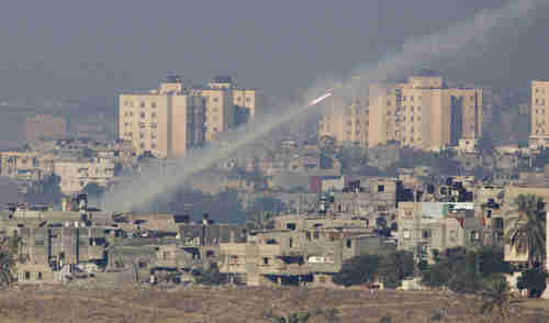 A rocket being launched from the Gaza Strip in 2012