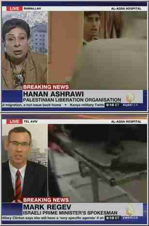 Contentious al-Jazeera interviews on Monday with Hanan Ashrawi and Mark Regev