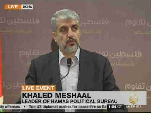 Khaled Meshaal giving speech on Wednesday (Al-Jazeera)