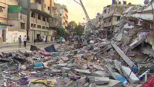 Aftermath of missile strike in Gaza (CNN)