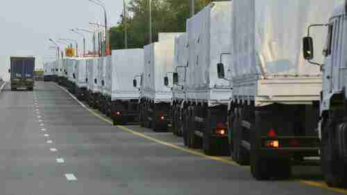 Convoy of Russian trucks headed for Ukraine on Tuesday (Reuters)