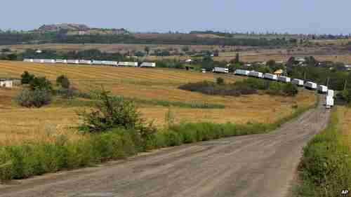 The massive convoy travels in Ukraine towards Luhansk on Friday (AP)