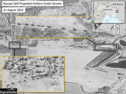 Nato satellite imagery showing Russian military convoy well inside Ukraine territory