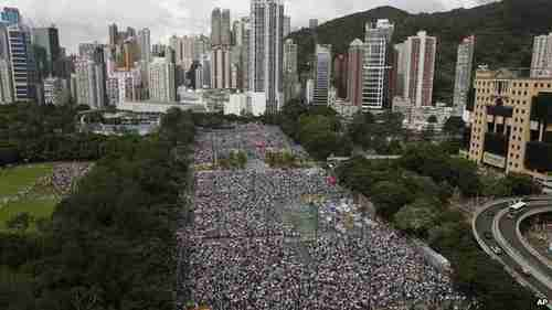 On 1 July tens of thousands marched against candidate restrictions in the territory.  Tens of thousands held pro-Beijing rallies on August 17. (AP)