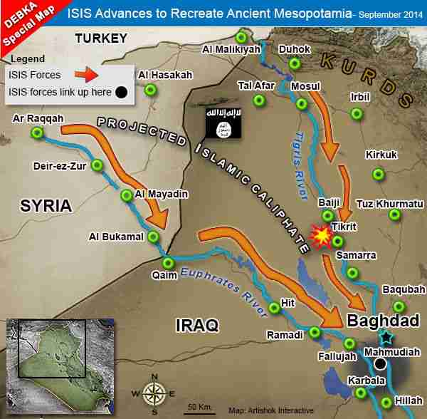 Map of ISIS advances in Iraq (Debka)