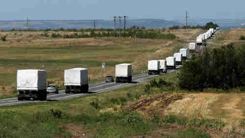 Massive Russian truck convoy with unknown contents arrives in Russian-held territory in east Ukraine, with no permission and no inspections (Ria Novosti)