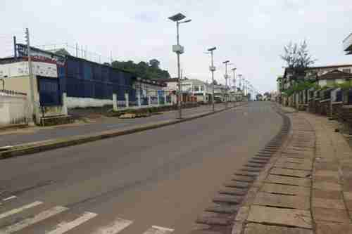 Empty street in Freetown during lockdown on Friday (Reuters)