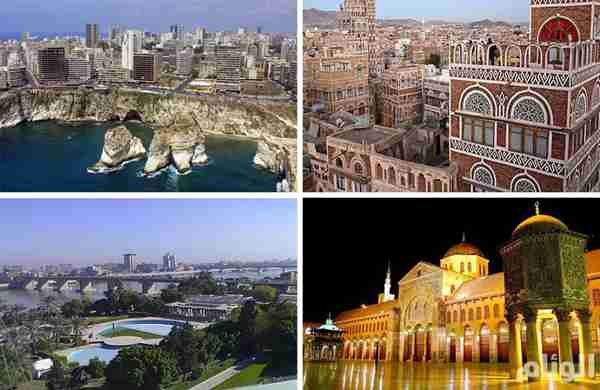 The four Arab capitals claimed last year by Iran -- Beirut (Top L), Sanaa (Top R), Baghdad (Bottom L), Damascus (Bottom R) (AlWeeam)