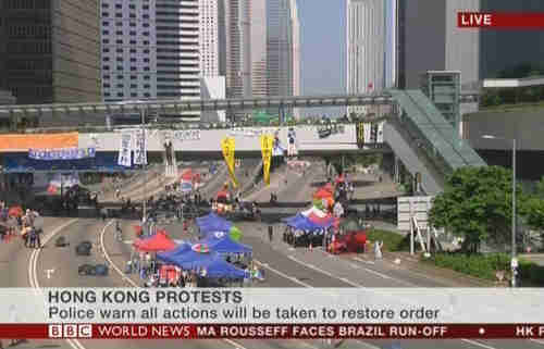 Hong Kong protests - live shot at 10 am Monday Hong Kong time (BBC)