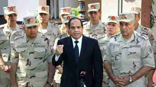 Al-Sisi during his televised address to the nation on Saturday (VOA/MENA)