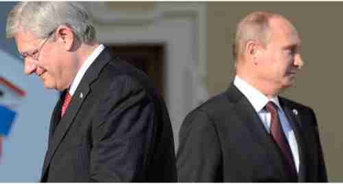 Stephen Harper and Vladimir Putin at G20 meeting on Saturday
