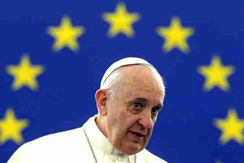 Pope Francis at the European Parliament on Tuesday (AFP)