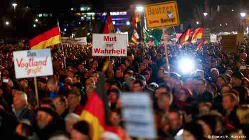 PEGIDA demonstrators in Dresden on Monday (Reuters)
