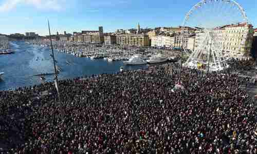 Massive rally in support of Charlie Hebdo victims in Marseille France on Saturday (AFP)