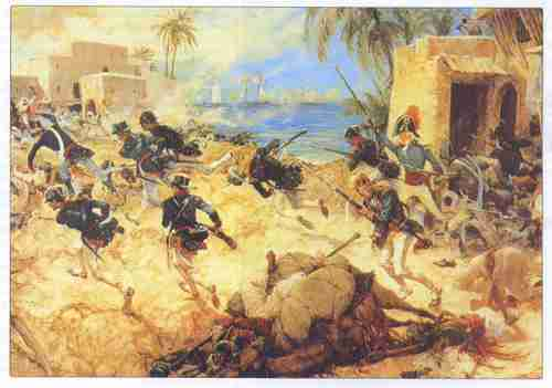 U.S. Marines storm Tripoli during the First Barbary War (1801-05) against North African Berber Muslims