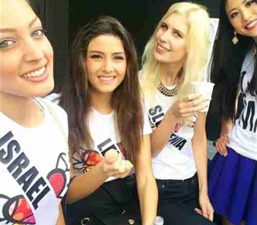From left to right: Miss Israel, Miss Lebanon, Miss Slovakia, and Miss Japan