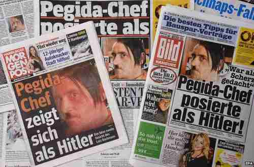 German newspapers carrying the photo of Pegida leader Lutz Bachmann posing as Hitler (BBC)