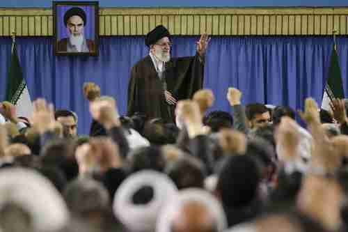 Khamenei in a meeting at his home in Tehran on Sunday (AP)