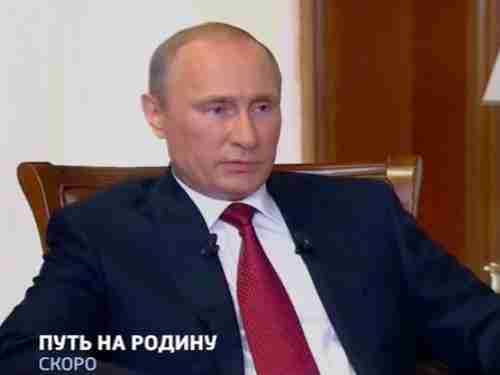Vladimir Putin during interview in documentary to be aired on Russian TV