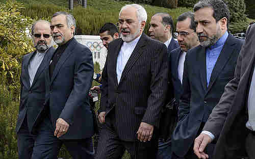 Iran's negotiating team in Lausanne (AFP)