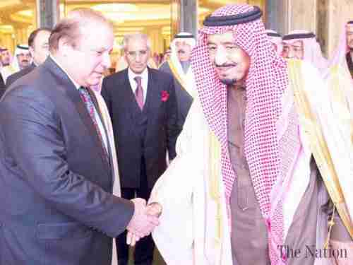 Pakistan's Nawaz Sharif shakes hands with Saudi King Salman (The Nation)