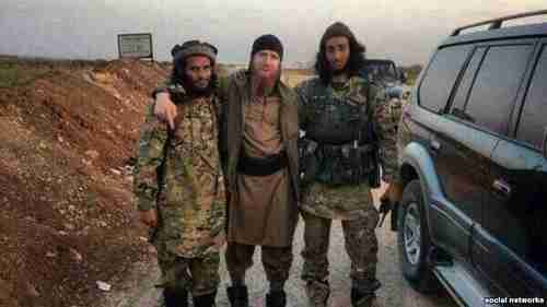 Umar al-Shishani (center), ISIS's military emir in Syria, is a Kist Chechen from Georgia's Pankisi Gorge (RFERL)