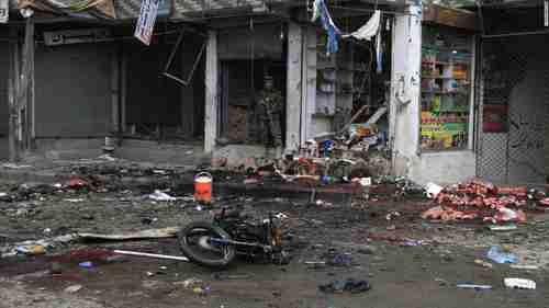 Site where a suicide bomber on a motorbike blew himself up in front of the Kabul Bank in Jalalabad, Afghanistan, on Saturday (CNN)
