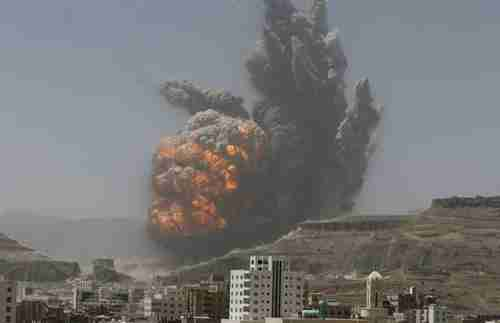 Huge explosion following airstrike on army weapons depot near Sanaa on Monday (Reuters)