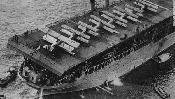 The USS Langley, the US Navy's first aircraft carrier, off the coast of Baltimore in 1924. (CNN)