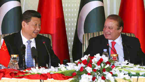 Xi Jinping and Nawaz Sharif on Tuesday in Islamabad (AP)