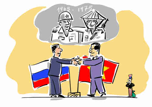Russian media cartoon depicting friendly Russia-Vietnam relations during 1965-75, when Vietnam beat the US in the Vietnam war (RBTH)