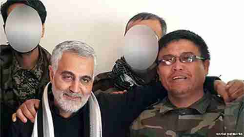 Iran's Quds Force commander Qassem Soleimani (left) with Afghan Alireza Tavasoli, commander of the Fatemiyoun Brigade, who was killed fighting in Syria. (RFE/RL)