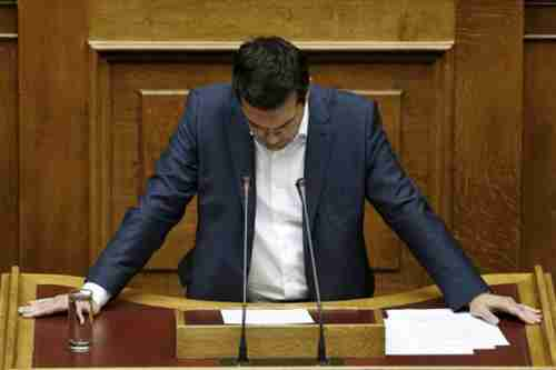 Alexis Tsipras giving speech to parliament on Friday (Kathimerini)