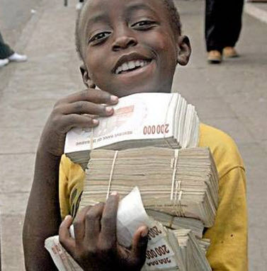 Boy carrying Zim dollars
