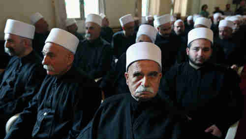 Druze clerics in a meeting in Beirut on Friday (AP)